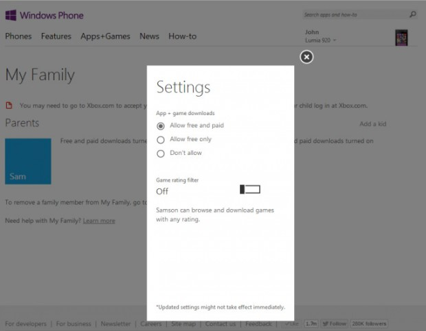Windows Phone My Family Setup