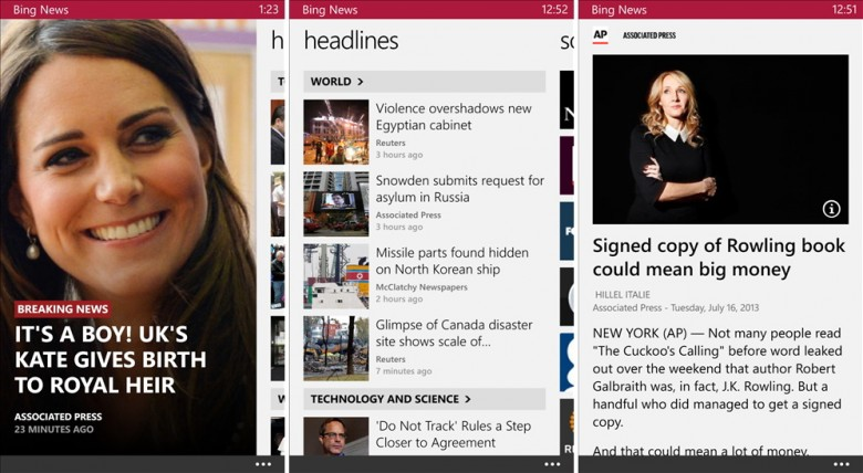 Bing News Windows Phone