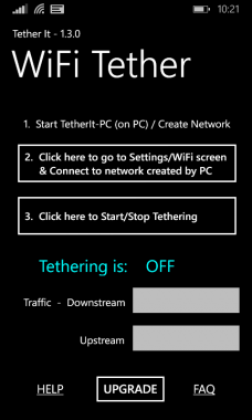 WiFi Tether It App Home Screen